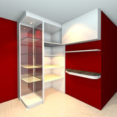 Shelves designs red — Stock Photo