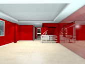 Red interior design — 图库照片