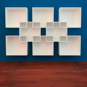 White book Shelf on blue Background — Stock Photo