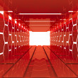 Futuristic Red hexagon room — Stock Photo