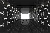 Futuristic black hexagon room — Foto de Stock