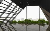 Black Abstract Wall office interior modern — Stock fotografie