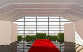 Red Corridor office interior modern — Stock fotografie
