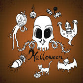 Doodles Halloween on Paper — Stock Vector