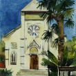 Watercolor painting of catholic church in Yalta, Ukraine - Foto de Stock