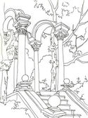 Staicase with arcade in Primorsky park in Yalta pen drawing — Stock Photo