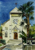 Watercolor painting of catholic church in Yalta, Ukraine — Stock Photo