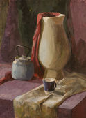 Still life with white vase and teapot gouache painting — Stock Photo