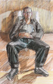Pastel drawing of sitting relax young man abstract contemporary — Stock Photo