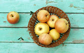 Rustic still life with apples on basket on turquoise weathered w — Stock Photo