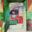 Stock Photo: Red and green cafe interior pensil drawing