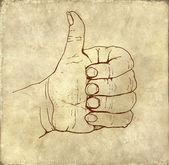 Like shape fist old fashioned ink drawing on textured background — Stock Photo