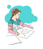 Small girl drawing on paper lineart drawing concept — Stock Photo