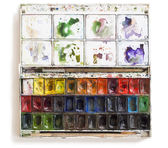 Watercolor set tools with brushes — Stock Photo