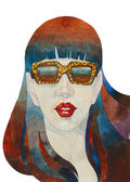 Abstract watercolor painted girl portret in a sunglasses illustr — Stock Photo