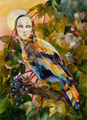 Mythical bird with female face on sunset forest watercolor illus — Stock Photo