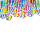 Large striped rainbow colors balloons on white backsgound — Stock Photo