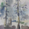 Two pine tree primitive watercolor art in diffuse wet style — Stock Photo