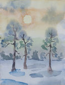 Winter pine forest in dawn primitive watercolor art — Stock Photo