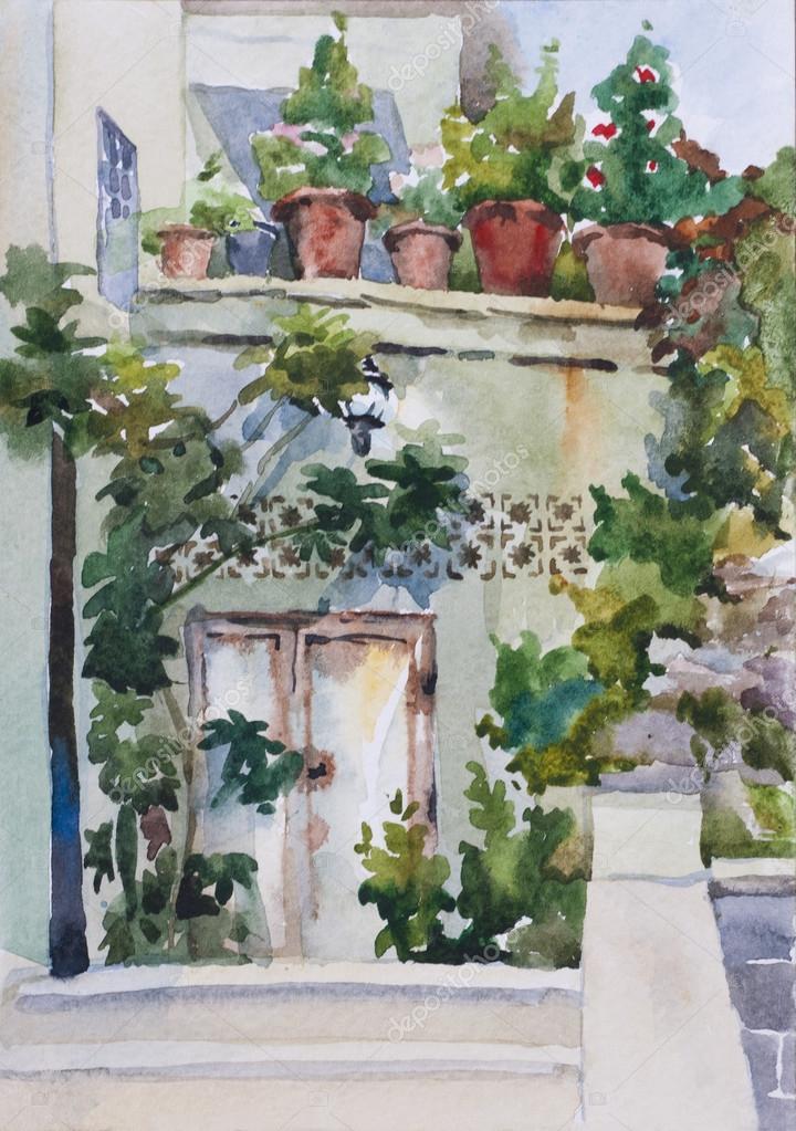 mini jardim oriental:Pequeno jardim oriental, perto da entrada e flor vasos na varanda ou