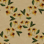 Yellow rudbeckia rhomb seamless pattern on rough brown paper — Stock Photo