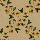 Yellow rudbeckia rhomb seamless pattern on rough brown paper — Stock Photo