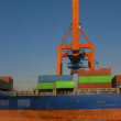 Red hoisting crane work into port with containers — Stock Photo