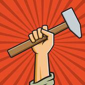 Fist Holding Hammer — Stock Vector