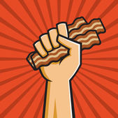 Fist Full of Bacon — Stock Vector