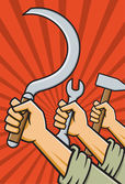 Fists holding tools high — Stock Vector
