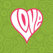 Love heart on seamless paisley background — Stock Vector