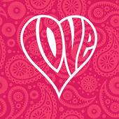 爱无缝的佩斯利背景上的心 — 图库矢量图片