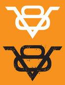 V8 Engine emblem with grunge option — Stock Vector
