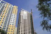 Apartment buildings under construction — Stock Photo