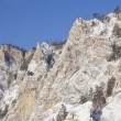 Winter mountains landscape. Beautiful cliffs - Stock Photo