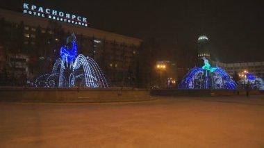 Krasnoyarsk Winter Light Fountains At Night 03 — Stock Video