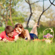 Couple on grass — Stok fotoğraf