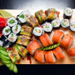 Plates of sushi — Stock Photo