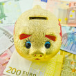 Golden piggy bank surrounded by Euro banknotes — Stock Photo #12211677