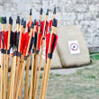 Stock Photo: Archery arrows with target background