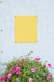 Metal plate on wall over flower bouquet — Stock Photo