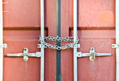 Red container locked by chain — Stock Photo