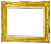 Antique gold frame isolated over white background — Stock Photo