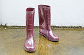 Rubber boots standing amongst rain puddles — Stock Photo