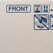 Fragile symbol on cardboard — Foto Stock