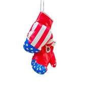 Boxing gloves with USA flag isolated on white background — Stock Photo