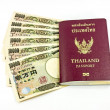 Thailand passport with some Japanese bank note — Stock Photo #46681307