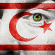 Flag painted on face with green eye to show N-Cyprus support — Stock Photo