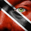Flag painted on face with green eye to show Trinidad and Tobago - Stock Photo