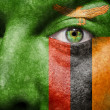 Flag painted on face with green eye to show Zambia support - Stock Photo